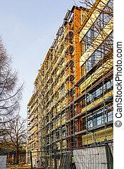 échafaudage, thermique, arround, isolation, maison, installer, façade, bâtiment, appartement