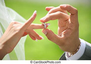 échange, anneaux, mariage