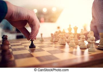 échecs, tactic., stratégie, game., business, jeu, homme affaires, concept
