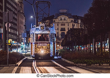 éclairé, nuit, tramways, noël, budapest