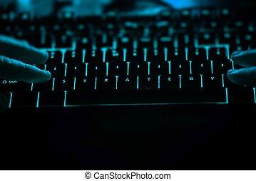 éclairé, texte, -, stratégie, clavier ordinateur, night.