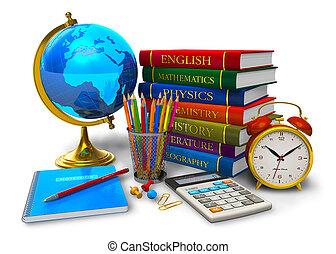 école, concept, education, dos