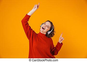 écouteurs, 20s, portrait, danse, sans fil, chant, beau, porter, femme