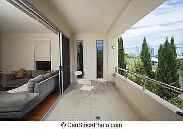 élégant, balcon