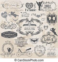 éléments, amour, valentine, vendange, -, vecteur, conception, album, mettez stylique