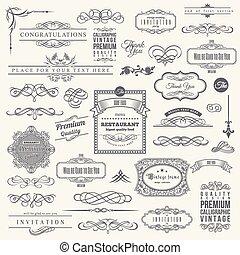 éléments, cadre, collection, calligraphic, conception, invitation, coin, frontière