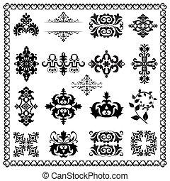 éléments décoratifs, conception, (black)
