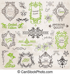 éléments, décoration, cadre, collection, calligraphic, vecteur, conception, vendange, fleurs, page, set: