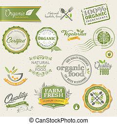 éléments, nourriture, organique, étiquettes
