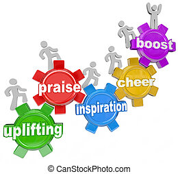 élever, acclamation, engrenages, éloge, équipe, escalade, mots, inspiration
