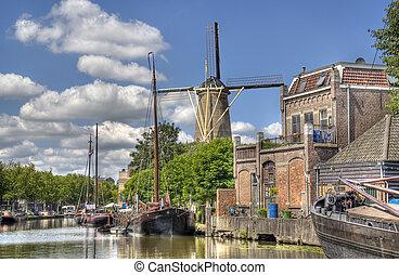 éolienne, gouda, hollande