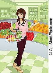 épicerie commerciale, femme