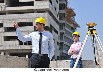 équipe, architectes, site, construction