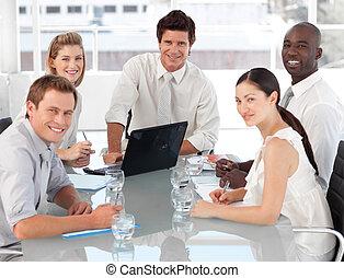 équipe, business, travail, multi, culutre, jeune