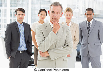 équipe, divers, business, regarder, appareil photo
