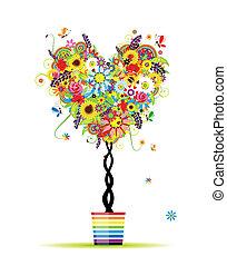 été, coeur, pot, arbre, forme, conception, floral, ton