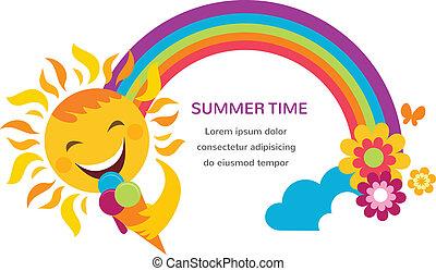 été, coloré, arc-en-ciel, illustration, flowers., soleil, heureux