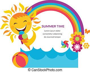 été, coloré, arc-en-ciel, soleil, fleurs, carte, heureux