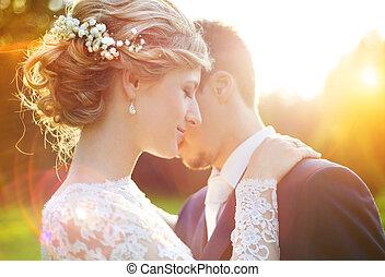 été, couple, mariage, pré, jeune