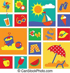 été, ensemble, coloré, icons., fetes, heureux