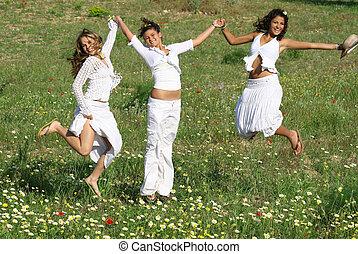 été, groupe, printemps, jeune, sauter, femmes, ou, heureux