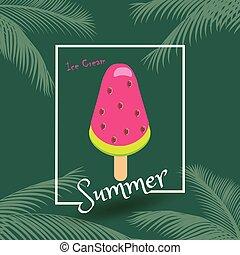 été, heureux, glace