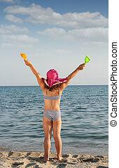 été, peu, haut, scène, mains, plage, heureux
