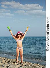 été, peu, scène, girl, plage, heureux