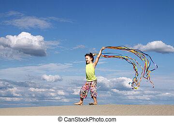 été, peu, scène, girl, plage, jouer, heureux