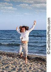 été, peu, scène, sauter, girl, plage, heureux