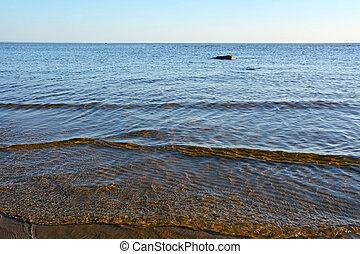 été, soir, mer, saison