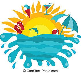 été, soleil, articles, fond, océan