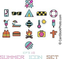 été, soleil, vacances, pastèque, icône, crème