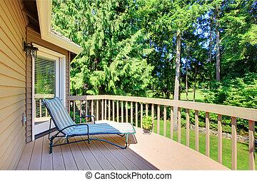 été, yard, dos, arbres, pin, balcon
