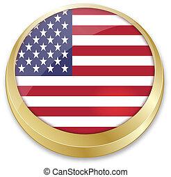 état uni, bouton, drapeau, forme, amérique