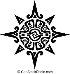 étoile, soleil, symbole, maya, incan, ou