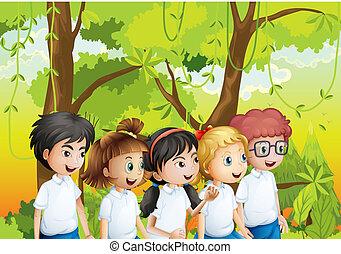 étudiants, cinq, forêt
