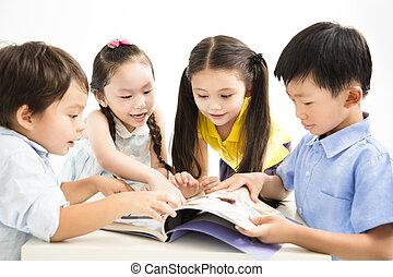 étudier, ensemble, groupe, gosses, école