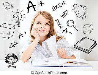étudier, petite fille, écolier