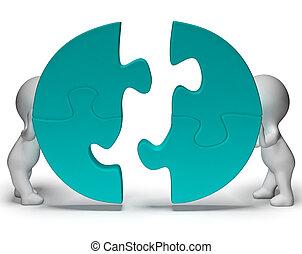 être, projection, puzzle, joint, morceaux, collaboration, togetherness