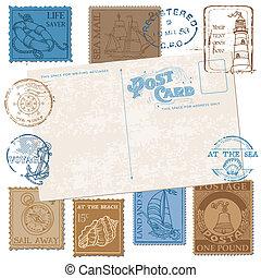 -, album, vecteur, timbres, qualité, élevé, carte postale, conception, retro, mer