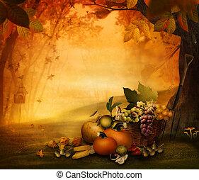 -, fruit, saison, automne, conception