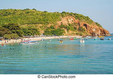 -, janvier, jouer, touristes, thaïlande, 2015:, plage, 1, pattaya