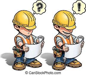 -, ouvrier construction, plan, lecture
