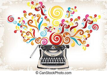 -, tourbillons, créativité, résumé, machine écrire