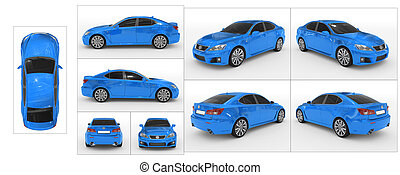 -, voiture, collection, vues, dos, frontières, tout, isolé, côté, verre, blanc, devant, teinté, peinture, sommet, séparé, caractéristique, bleu