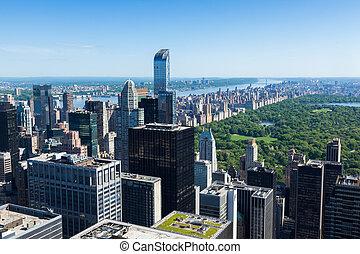-, vue, york, usa, nouveau, aérien, manhattan, parc central