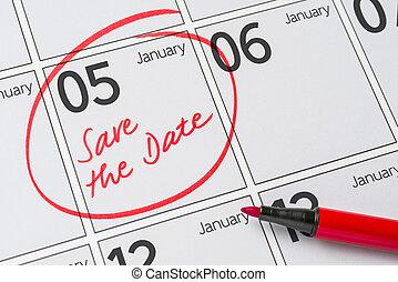 05, janvier, -, écrit, date, calendrier, sauver