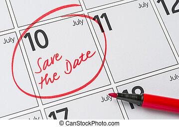10, -, écrit, date, juillet, sauver, calendrier