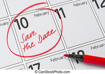 10, février, -, écrit, date, calendrier, sauver